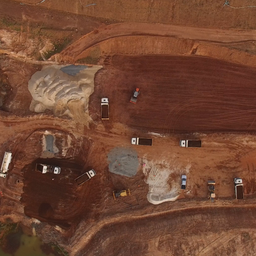 October 2017 - Aerial view of TSF earthworks equipment
