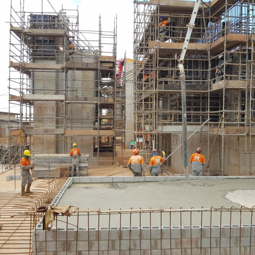 March - Concrete foundation for SAG and Ball mill complete, with rebar for pedestals progressing